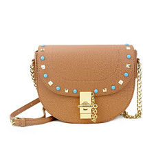 Olivia Miller Shayna Turq Pyramid Studs Crossbody Bag