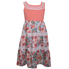 Bonnie Jean Sleeveless Pattern Maxi Dress - Preschool Girls