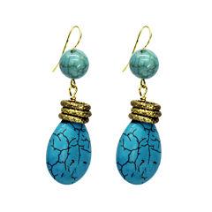 Aris by Treska Blue and Gold-Tone Drop Earrings