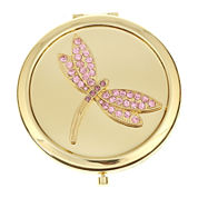 Monet® Gold-Tone & Pink Stone Dragonfly Mirror Compact