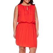 Bisou Bisou® Sleeveless Crochet Blouson Dress - Plus