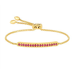 Rhythm and Muse Lab-Created Ruby Gold Over Silver Bolo Bracelet