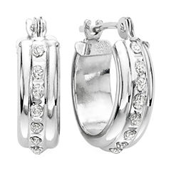 Diamond Fascination™ 14K Gold Flat Hoop Earrings