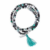 Bridge Jewelry Womens Blue Agate Silver Over Brass Wrap Bracelet