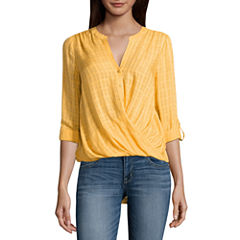 a.n.a Long Sleeve Y Neck Woven Blouse