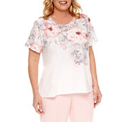Alfred Dunner Short Sleeve Crew Neck T-Shirt-Plus