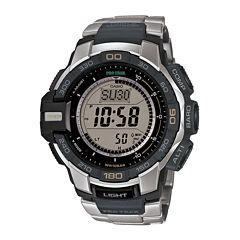 Casio® ProTrek Mens Stainless Steel Strap Solar Chronograph Watch PRG270D-7CR
