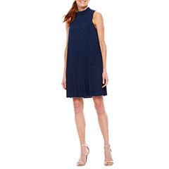 Sag Harbor Pleats And Lace Sleeveless A-Line Dress