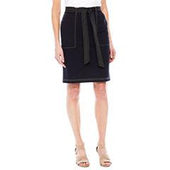 Sag Harbor Denim And Chambray A-Line Skirt
