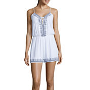 Trixxi® Sleeveless Embroidered Lace-Up Romper