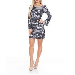 White Mark Juliana Long Sleeve Sheath Dress