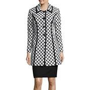 Isabella Long-Sleeve Jacquard Coat Skirt Suit