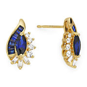 Lab-Created Blue and White Sapphire 14K Gold Over Sterling Silver Earrings