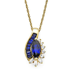 Lab-Created Blue and White Sapphire 14K Gold Over Sterling Silver Pendant