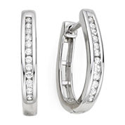 1/4 CT. T.W. Diamond Silver Hoop Earrings