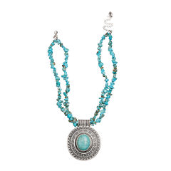 Mixit™ Reconstituted Turquoise 2 Row Pendant Necklace