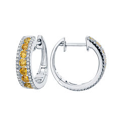 LIMITED QUANTITIES 1 CT. T.W. White and Color-Enhanced Yellow Diamond Hoop Earrings