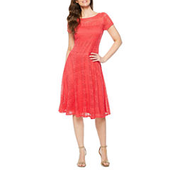 Melrose Short Sleeve Lace Fit & Flare Dress