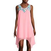 City Triangles® Sleeveless Embroidered Alternative-Hem Dress- Juniors