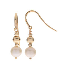 Cultured Freshwater Pearl 14K Gold Over Silver Drop Earrings