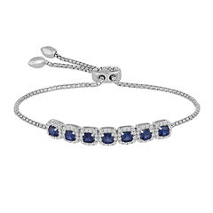 Rhythm and Muse Lab-Created Blue & White Sapphire Sterling Silver Bracelet