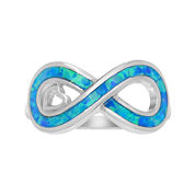 Simulated Blue Opal Sterling Silver Infinity Ring
