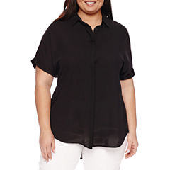 Worthington Short Sleeve V Neck Woven Blouse-Talls