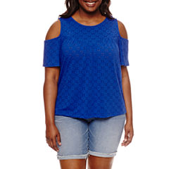 by&by . Short Sleeve Scoop Neck Eyelet Blouse-Juniors Plus