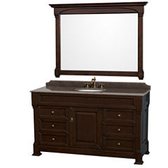 Andover 60 inch Single Bathroom Vanity; Imperial Brown Granite Countertop; Undermount Oval Sink; and56 inch Mirror