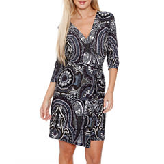White Mark Mariah 3/4 Sleeve Wrap Dress