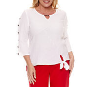Alfred Dunner Lace It Up 3/4 Sleeve Crew Neck Woven Blouse-Plus