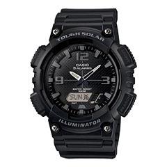 Casio® Mens Black Dial Black Resin Strap Solar Sport Watch AQ-S810W-1A2