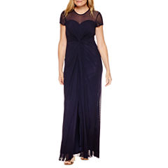 Blu Sage Short Sleeve Evening Gown-Petites