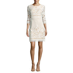 Danny & Nicole 3/4 Sleeve Lace Sheath Dress-Petites