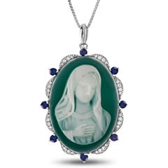 Womens Green Agate Sterling Silver Pendant Necklace