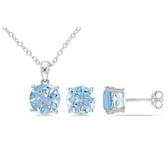 Womens 2-pc. Blue Blue Topaz Sterling Silver Jewelry Set