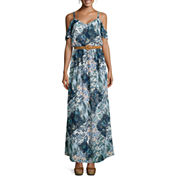 Luxology Short-Sleeve Cold-Shoulder Belted Print Maxi Dress