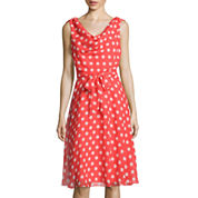 RN Studio by Ronni Nicole Sleeveless Dot Print Fit-and-Flare Dress