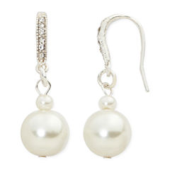 Vieste® Simulated Pearl and Crystal Silver-Tone Drop Earrings
