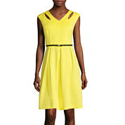 Studio 1® Sleeveless Solid Belted Fit-and-Flare Dress