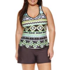 Zeroxposur Geometric Tankini Swimsuit Top or Swim Shorts-Plus