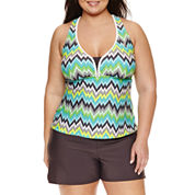 Zeroxposur Chevron Tankini Swimsuit Top or Swim Shorts-Plus
