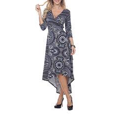 White Mark Paisley Ola 3/4 Sleeve Wrap Dress