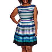 Danny & Nicole® Sleeveless Stripe Fit-and-Flare Dress - Plus