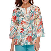 Alfred Dunner® 3/4-Sleeve Cozumel Tropical Print Tunic