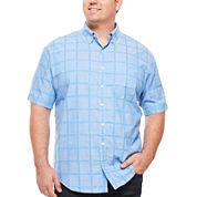IZOD® Short-Sleeve Windowpane Chambray Shirt - Big & Tall