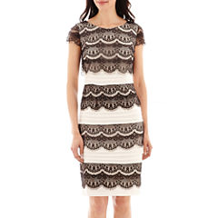 Melrose Short-Sleeve Lace-Overlay Shutter-Pleat Dress