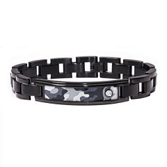 Mens Diamond-Accent Stainless Steel Camouflage ID Bracelet
