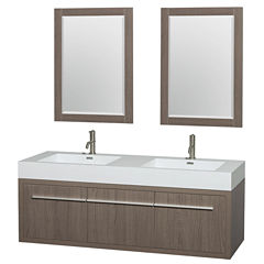 Axa 60 inch Double Bathroom Vanity; Acrylic ResinCountertop; Integrated Sinks; and 24 inch Mirrors
