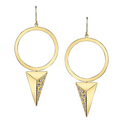 DOWNTOWN BY LANA Gold-Tone Crystal Pyramid Hoop Earrings